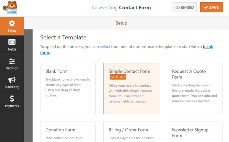 wpforms form templates