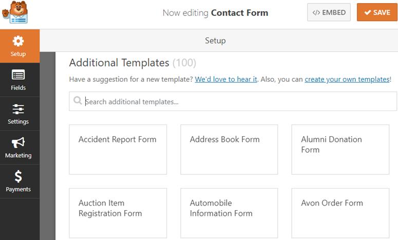 wpforms templates pack