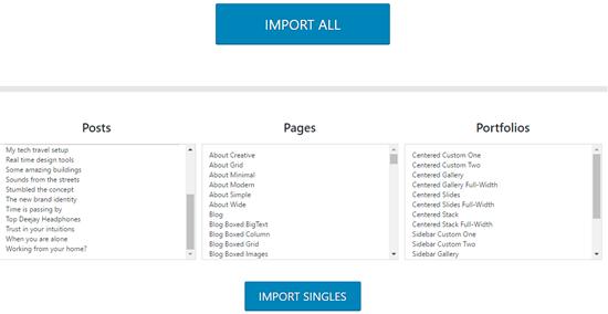 uncode demo content importer