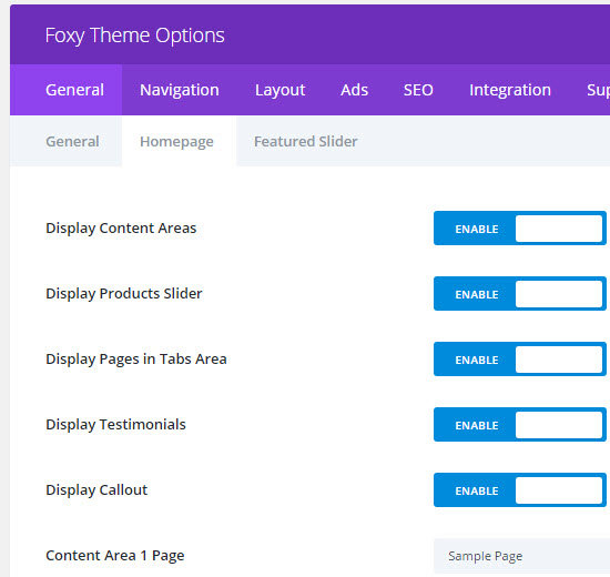 foxy homepage options