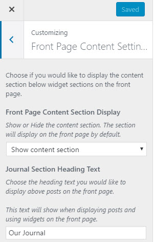front page content settings