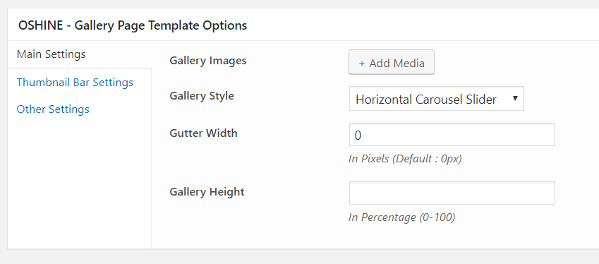 oshine gallery page template options