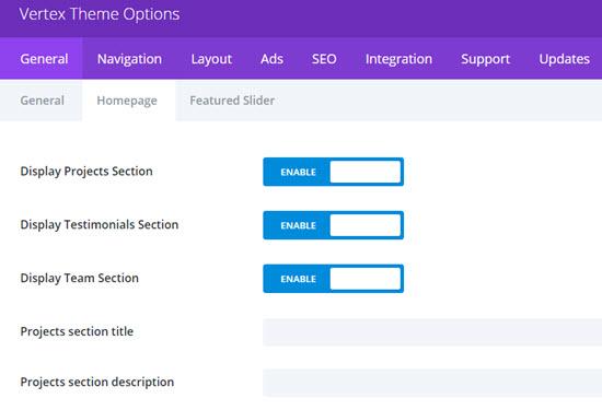 vertex homepage theme options