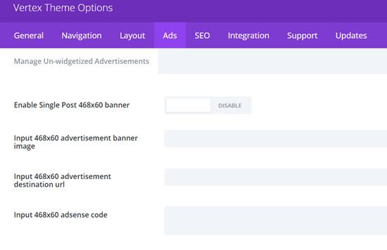 vertex theme options