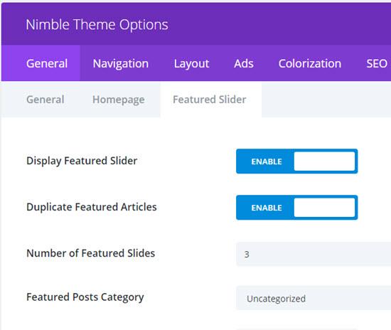 nimble theme featured slider