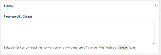 agency pro-page specific scripts
