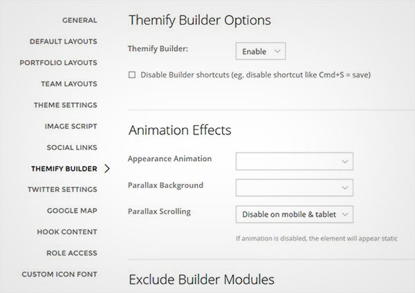 Themify Builder Options