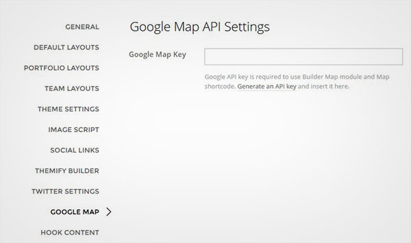 Google Map API Settings