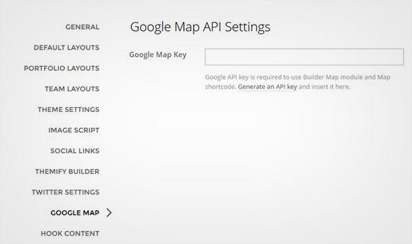 Google Map API Settings
