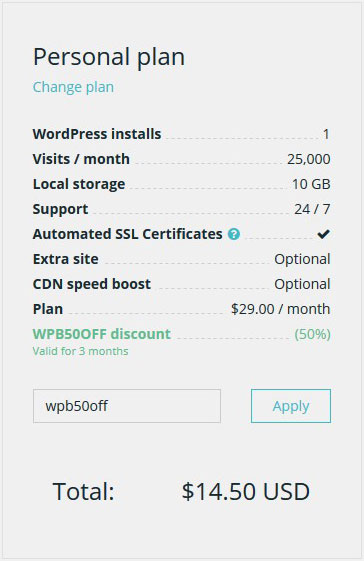 WPEngine Coupon Applied
