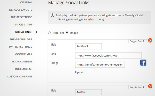 Manage Social Links
