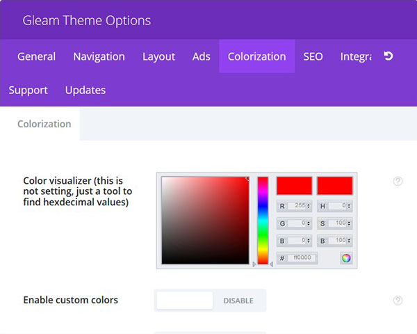 Colorization Options