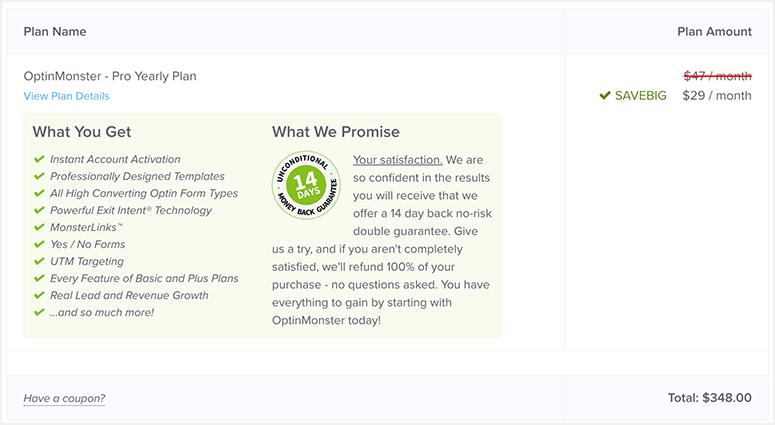 OptinMonster Plan Details