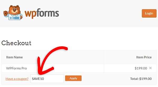 Enter your WPForms coupon code