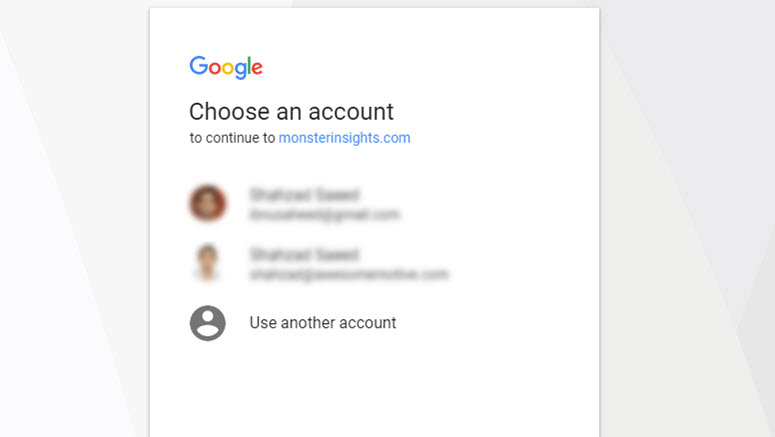 choose a google account for analytics