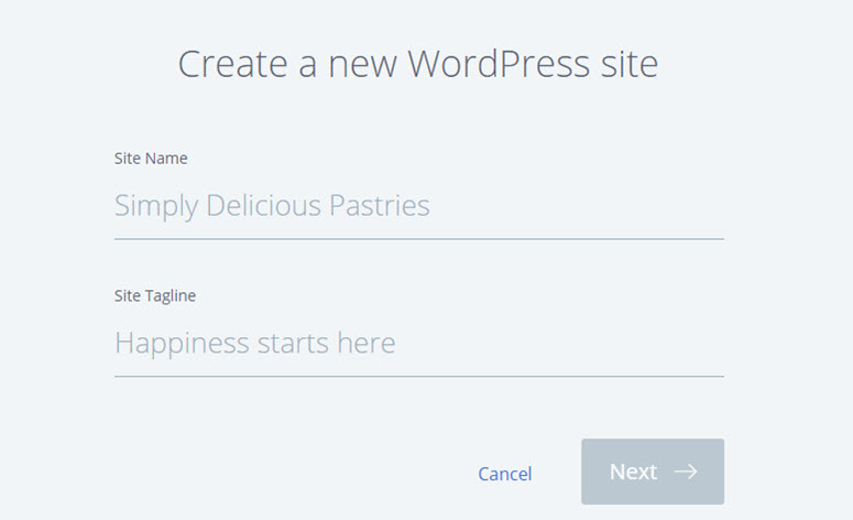 create a new wordpress website