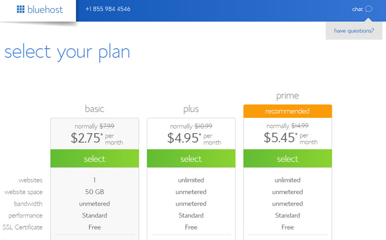select a bluehost plan for restaurant website