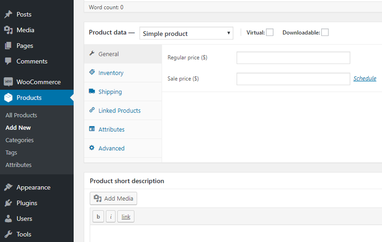 woocommerce product data