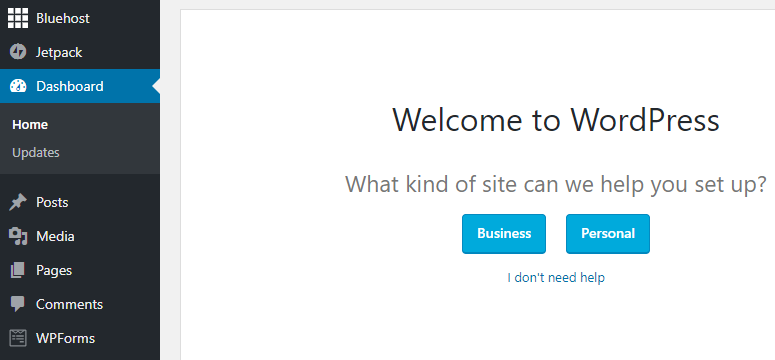 wordpress welcome message on bluehost