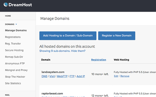 dreamhost manage domains