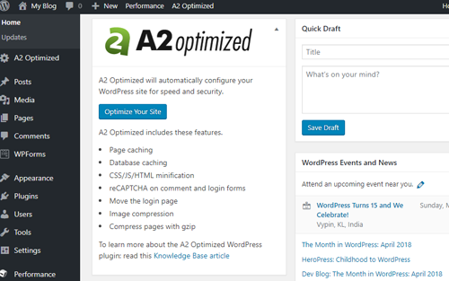 A2 Hosting WordPress login
