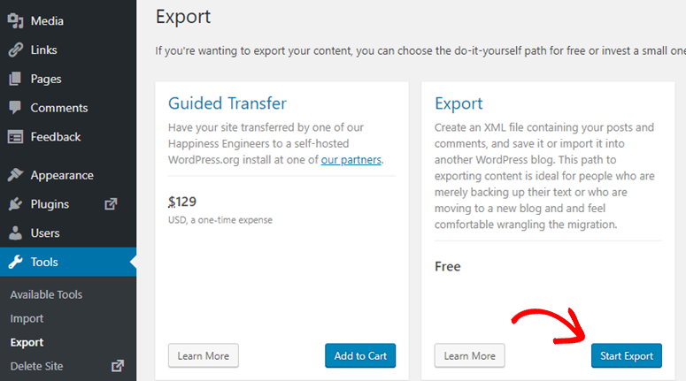 export wordpress.com to wordpress.org