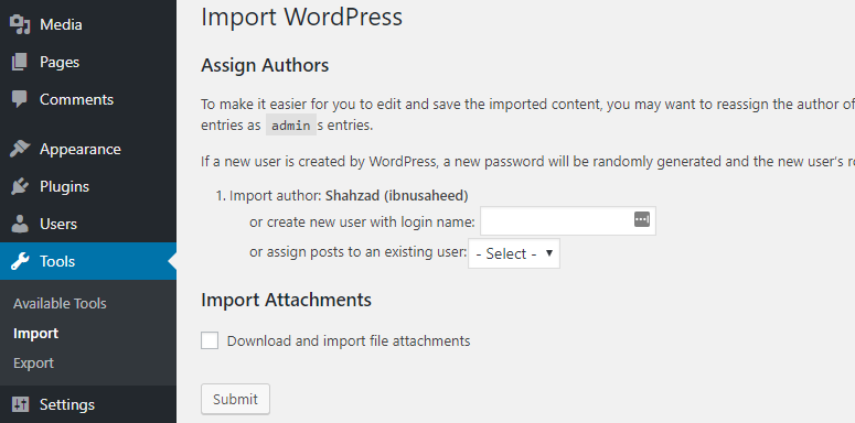 import wordpress and assign authors