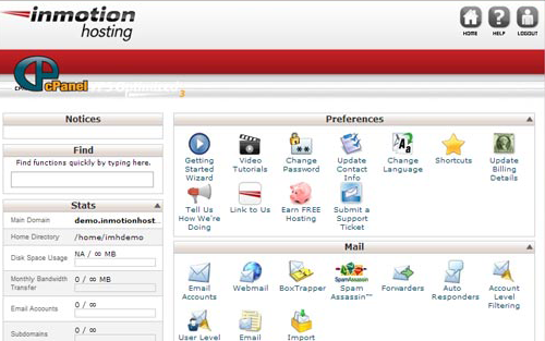 InMotion control panel