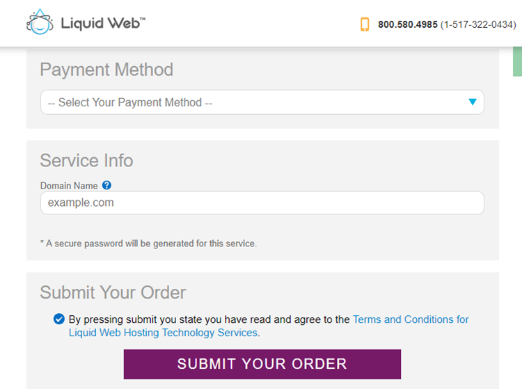 liquid web submit order