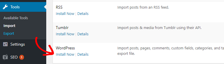 wordpress import install