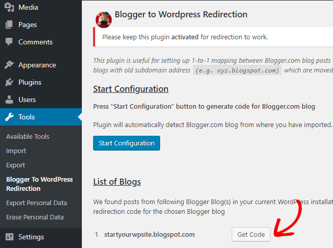 blogger to wordpress get code