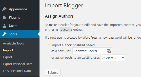 import blogger assign authors