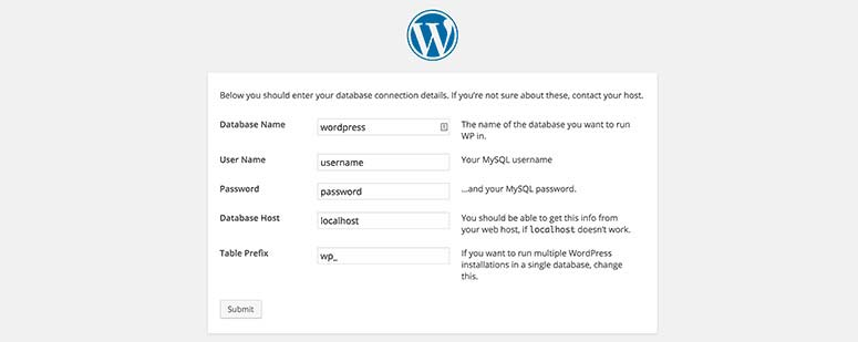Create WordPress config file