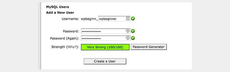 Create a user