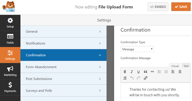 file upload form confirmation settings