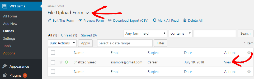 file upload form entry