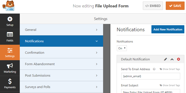 file upload form notifications