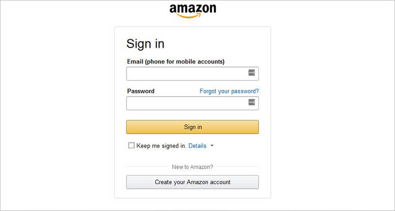 Login page for Amazon