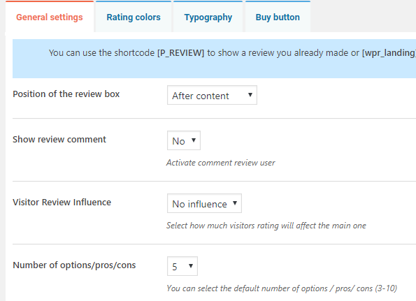 review site plugin- general settings