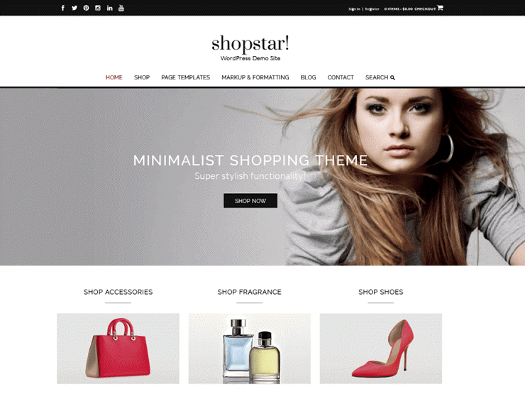 f9a4e846ceaa Shopstar is a minimalist shopping theme perfect for building an online store,  blog or fashion website. The theme seamlessly integrates with WooCommerce,  ...
