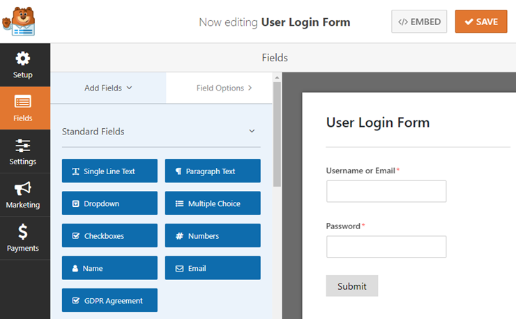 user login form in wordpress