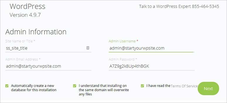 Admin user information