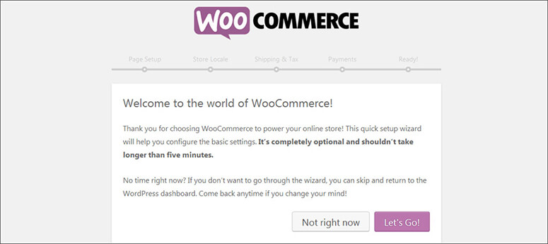 Welcome message from WooCommerce