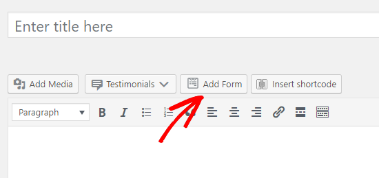 wpforms add form button