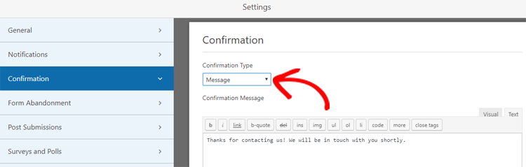 enable confirmation message