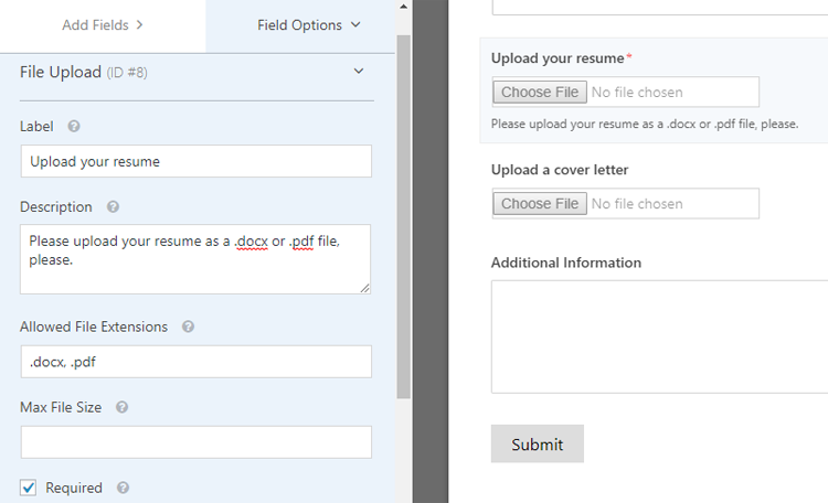 file upload customization