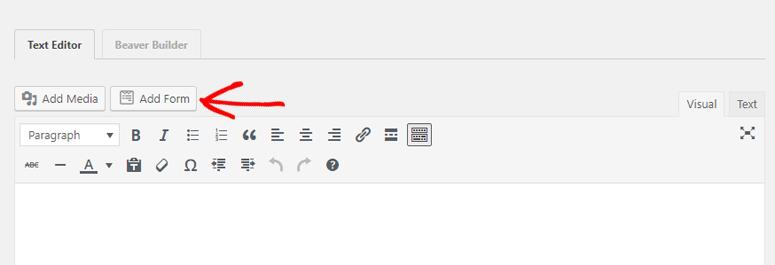 add form in Classic editor