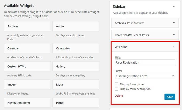 User registration form in sidebar