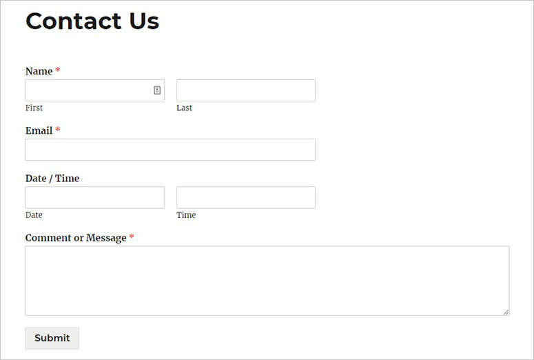 WordPress form with date picker