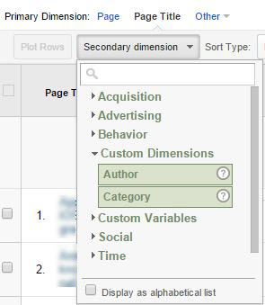 Google Analytics Screenshot Of Custom Dimensions
